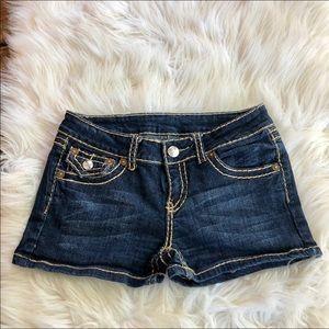 ~Miss Chic~ dark jean shorts. flap/design pockets